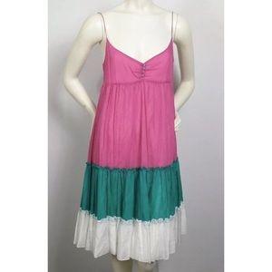 Zara Basic Ruffled Color Block Baby Doll Dress